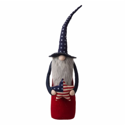 Glitzhome Patriotic Stuffed Fabric Gnome with Hat Perspective: front
