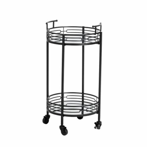 Glitzhome Deluxe 2-Tier Metal Bar Cart - Black Perspective: front