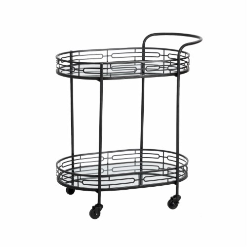 Glitzhome Deluxe 2-Tier Metal Oval Mirrored Bar Cart - Black Perspective: front