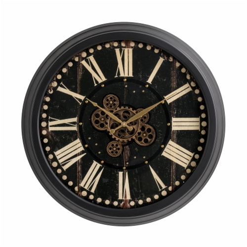 Glitzhome Oversized Vintage Gear Clock - Black Perspective: front