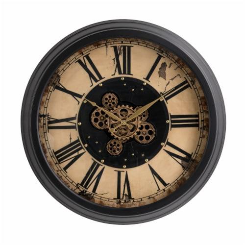 Glitzhome Oversized Vintage Round Gear Clock Perspective: front