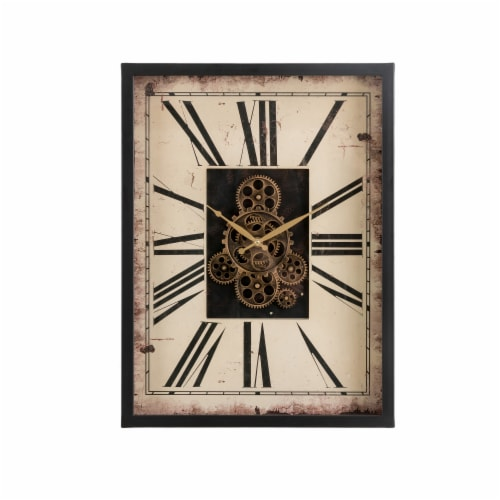 Glitzhome Vintage Rectangle Gear Clock Perspective: front
