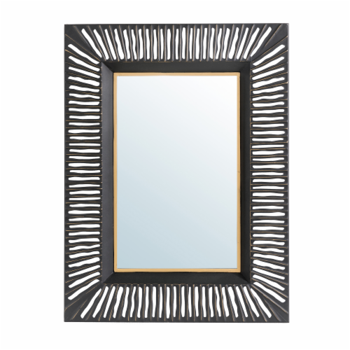Glitzhome Oversized Modern Metal Wall Mirror - Black/Gold Perspective: front