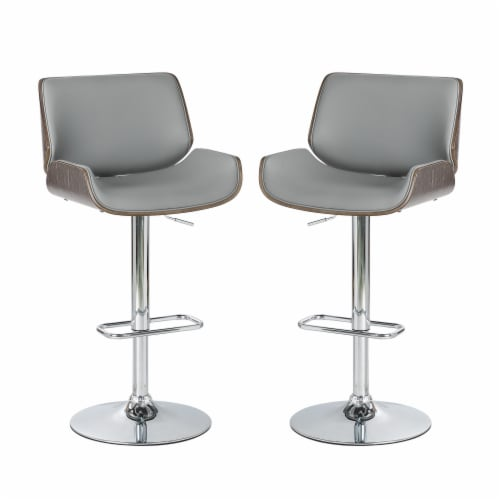 Glitzhome Midcentury Modern Adjustable Height Swivel Bar Stools - Gray Perspective: front