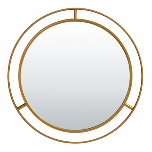 Glitzhome Oversized Glam Metal Round Wall Mirror - Gold Perspective: front