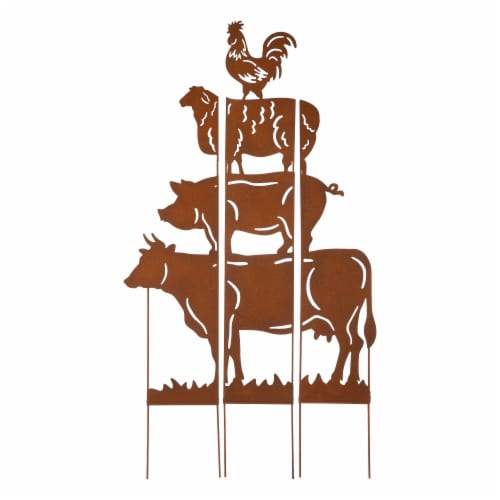 Glitzhome Farmhouse Silhouette Rustic Metal Yard Stake Perspective: front