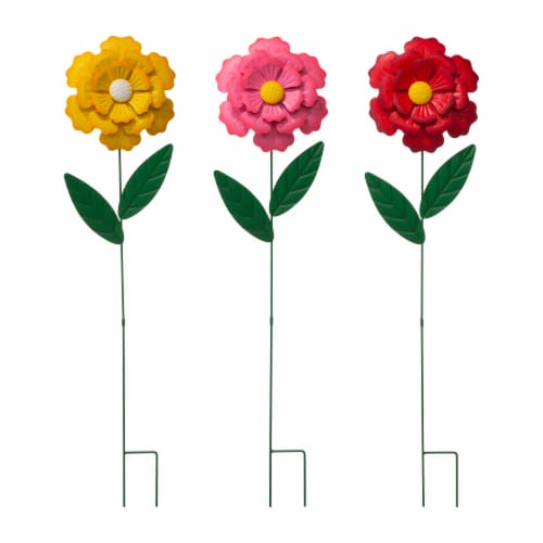 Glitzhome Metal Yard Stake Flower Perspective: front