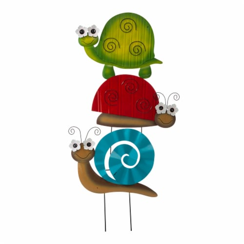 Glitzhome Metal Tortoise/ Ladybug/ Snail Yardstake or Wall Decor Perspective: front