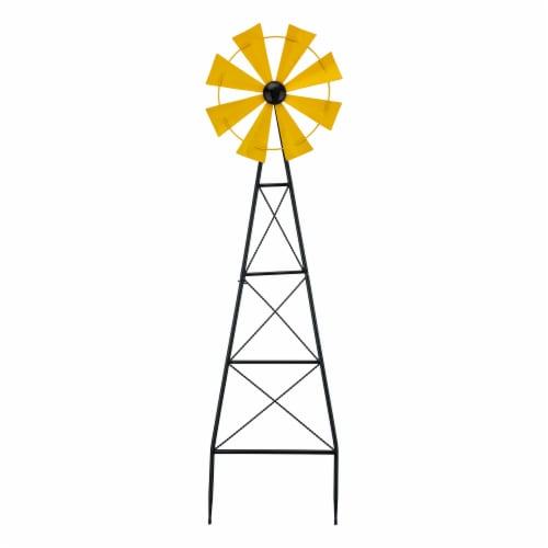 Glitzhome Metal Wind Spinner Yard Steak Spring Decor - Yellow Perspective: front