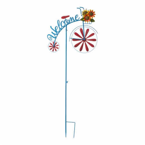 Glitzhome Metal Bicycle Wind Spinner Welcome Yard Stake - Red Perspective: front
