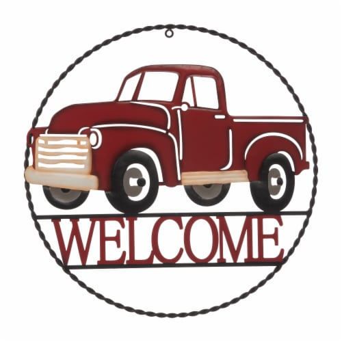 Glitzhome Rustic Metal Truck with Welcome Word Wall Decoration - Red Perspective: front