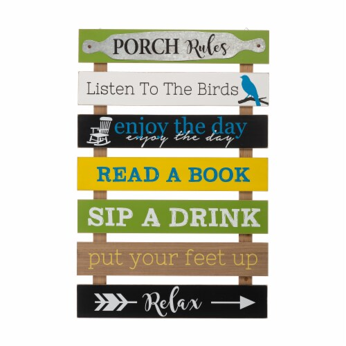 Glitzhome Oversized Wooden Pallet Porch Rules Wall Sign Decor Perspective: front