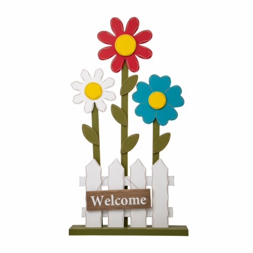 Glitzhome Wooden Trio Flowers and Fence Welcome Porch Décor Perspective: front