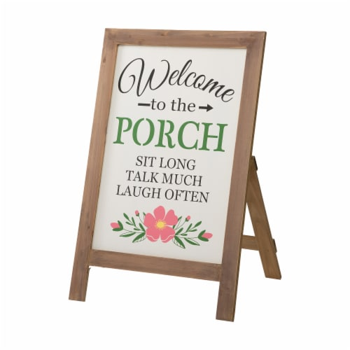 """Glitzhome """"Welcome to the Porch"""" Wood Framed Easel Porch Sign with Flowers Perspective: front"""