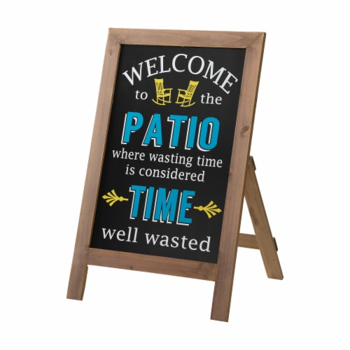 """Glitzhome """"Welcome to the Patio"""" Wood Framed Easel Porch Sign Perspective: front"""
