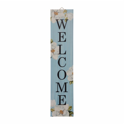 """Glitzhome Wooden """"WELCOME"""" Word Porch Sign Decor with Lilies Perspective: front"""