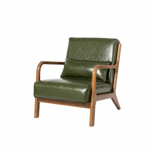 Glitzhome PU Leather Accent Armchair - Hunter Green Perspective: front