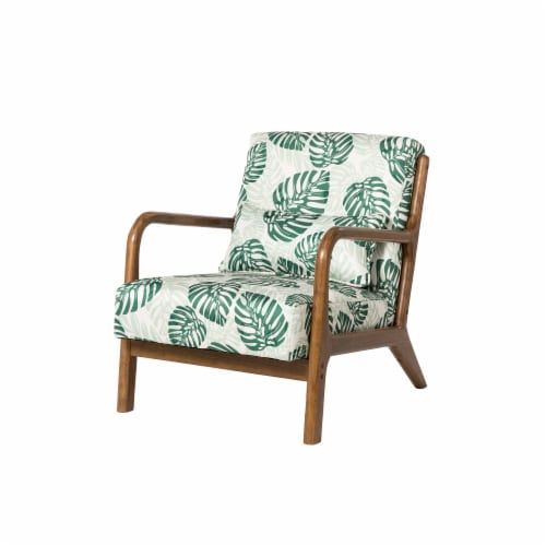 Glitzhome Mid-Centry Modern Fabric Accent Armchair - Patterned Perspective: front