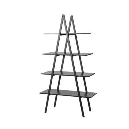 Glitzhome 4-Tiered Industrial Shelves - Black Oak Perspective: front