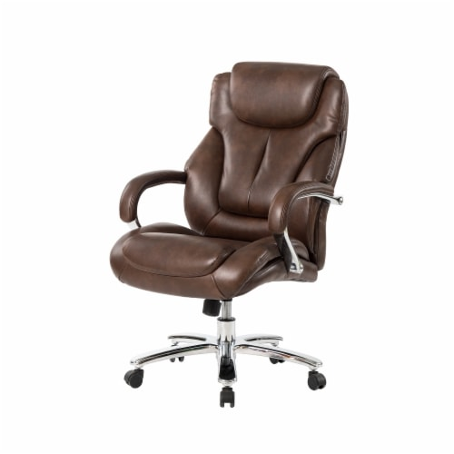 Glitzhome Leather Adjustable Height Swivel Chair - Coffee Perspective: front