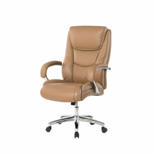 Glitzhome Leather Adjustable Height Swivel Chair - Camel Perspective: front