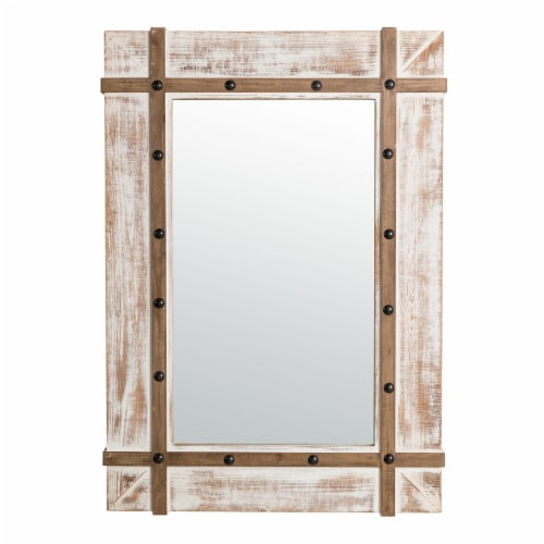 Glitzhome Oversized Farmhouse Wood Rectangular Wall Mirror Perspective: front