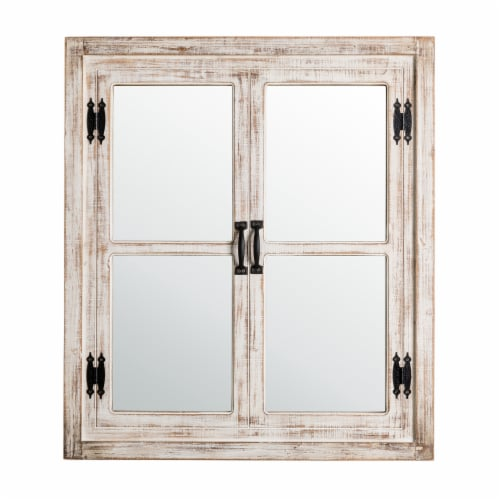 Glitzhome Oversized Farmhouse Wood Window Frame Wall Mirror Perspective: front