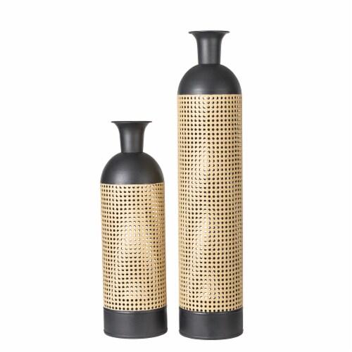 Glitzhome Boho Decorative Metal Floor Vases - Gold/Black Perspective: front