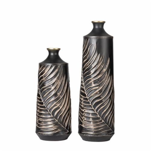 Glitzhome Boho Elegant Decorative Metal Table & Floor Vases Perspective: front