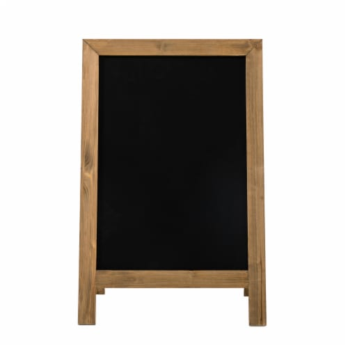 Glitzhome Farmhouse Wood Hanging and Floor Displayed Memo Board - Brown Perspective: front
