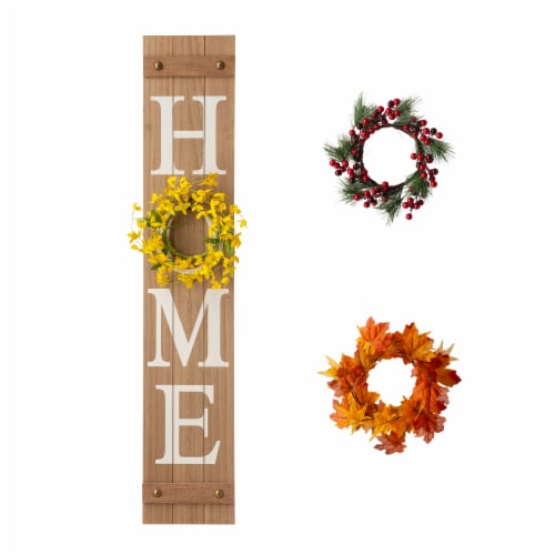 Glitzhome Wooden Holiday Wall Sign Perspective: front