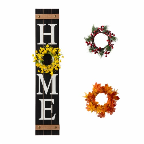 Glitzhome Wooden Home Porch Sign with Changeable Wreaths Perspective: front