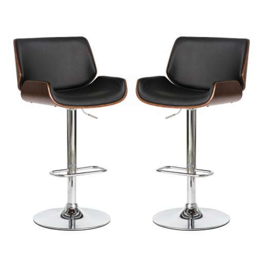 Glitzhome Modern PU and Walnut Bentwood Adjustable Swivel Bar Stool - Black Perspective: front