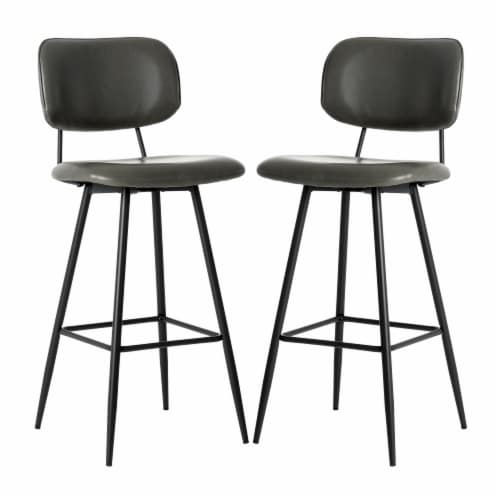 Glitzhome Mid-Century Modern PU Leather Bar Stool - Gray Perspective: front
