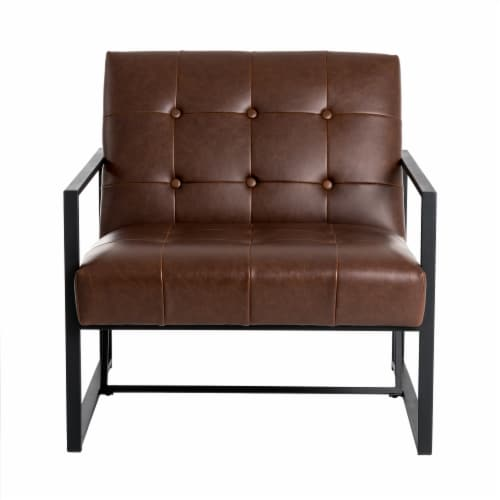 Glitzhome Mid-Century Modern PU Leather Tufted Accent Chair - Brown Perspective: front
