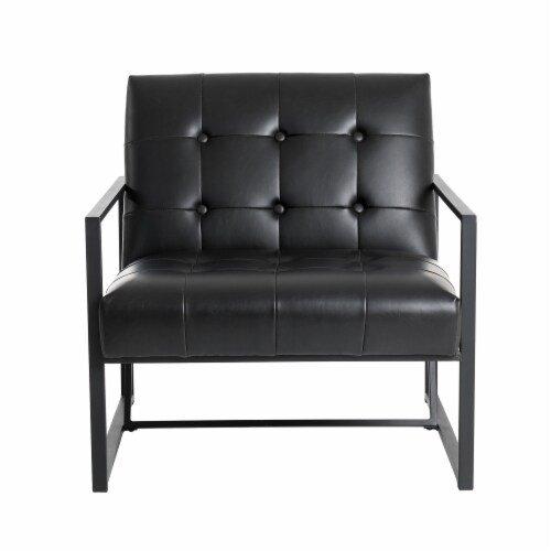 Glitzhome Mid-Century Modern PU Leather Tufted Accent Chair - Black Perspective: front