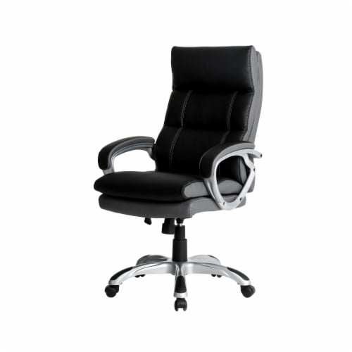 Glitzhome PU Leather Adjustable Swivel Office Chair - Black Perspective: front
