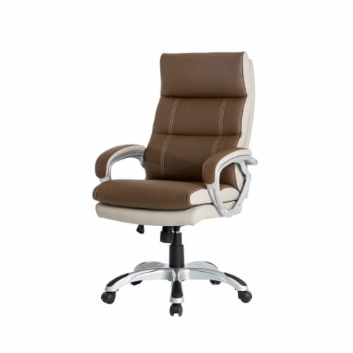Glitzhome PU Leather Adjustable Swivel Office Chair - Brown Perspective: front