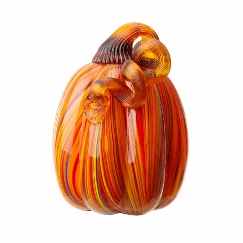 Glitzhome Multi-Striped Glass Pumpkin Perspective: front