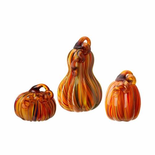 Glitzhome Multi-Striped Glass Pumpkins Perspective: front
