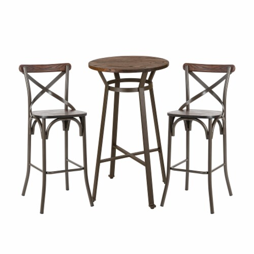 Glitzhome Rustic Steel Round Bar Table and Stools Set Perspective: front