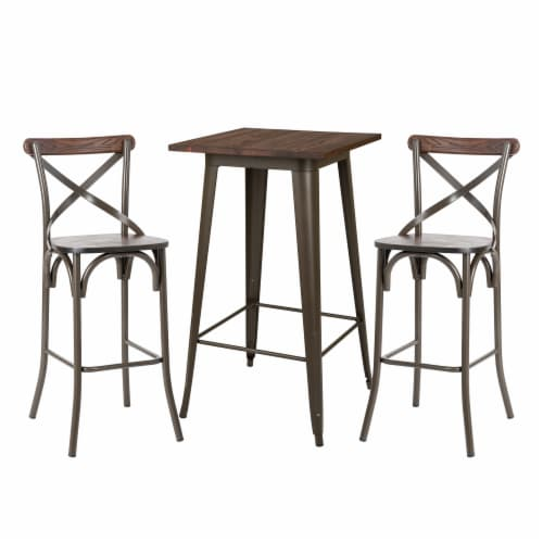 Glitzhome Rustic Steel Square Bar Table & Stools Set Perspective: front