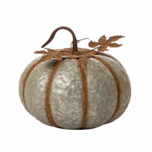 Glitzhome Galvanized Metal Pumpkins Perspective: front