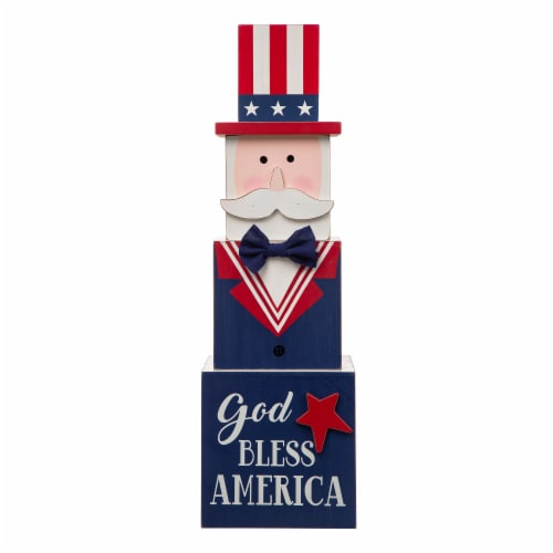 Glitzhome Patriotic & Easter Double-Sided Porch Sign Perspective: front