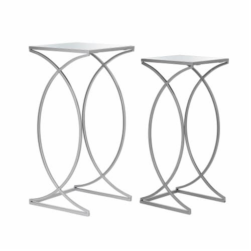 Glitzhome Metal with Glass Accent Table - Silver Perspective: front