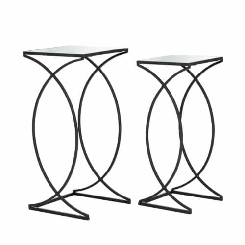 Glitzhome Metal with Glass Accent Table - Black Perspective: front