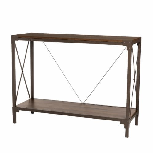Glitzhome Modern Industry Metal/Wooden Console Table - Walnut Perspective: front