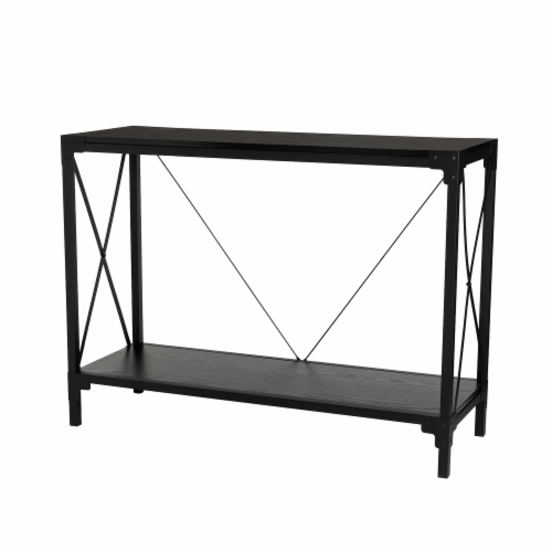 Glitzhome Modern Industry Metal/Wooden Console Table - Black Perspective: front