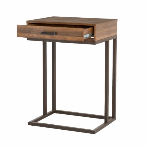 Glitzhome Modern Industry Metal/Wooden C Side Table - Walnut Perspective: front
