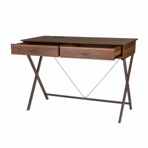 Glitzhome Modern Industry Metal & Wood Writing Desk with Outlet and USB Ports Perspective: front